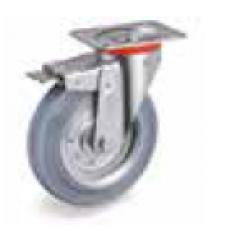 Колело от сива гума неоставяща следа въртящо със спирачка 100 мм