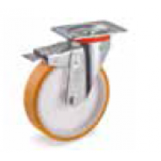 Колело от лят полиуретан въртящо със спирачка 100 мм
